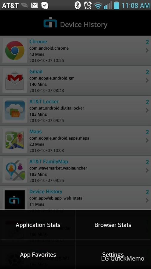 Device History - screenshot