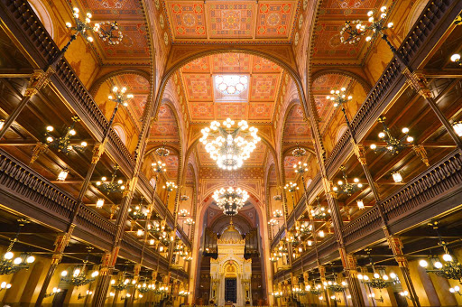 Inside the ornate Moorish-style Dohány Street Synagogue in Budapest. It contains a synagogue, museum, cemetery and Holocaust memorial.
