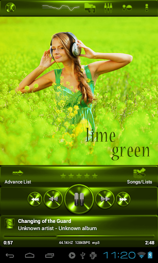PowerAmp SKIN 石灰綠色金屬