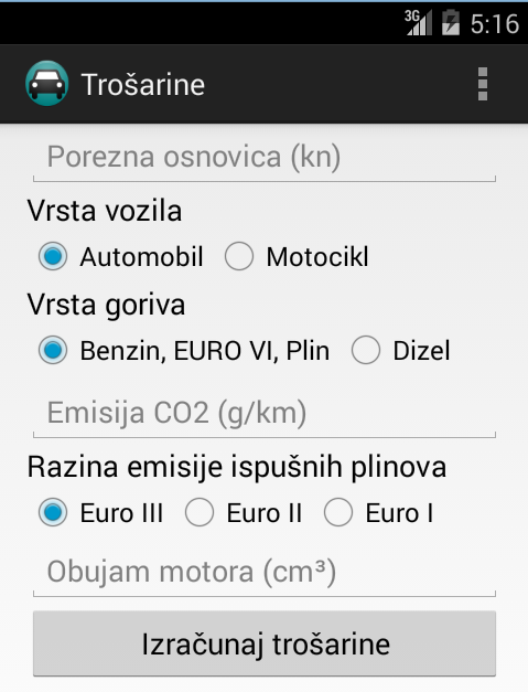 Trošarine- screenshot