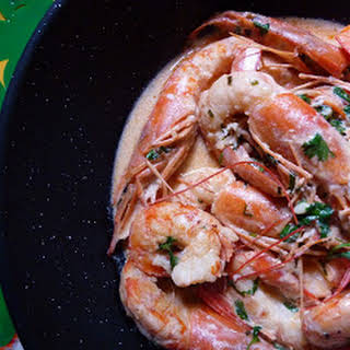 Jumbo Shrimp with Cilantro Cream.