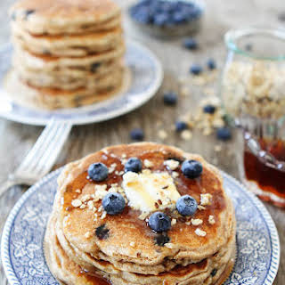 Whole Wheat Blueberry Granola Pancakes.