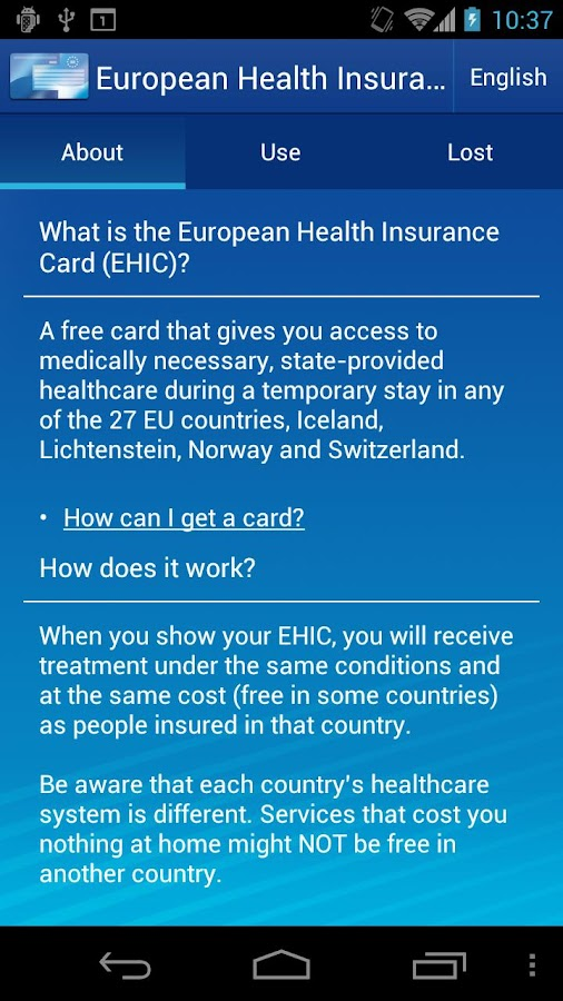 European Health Insurance Card - screenshot