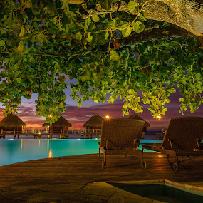 MMPI_20140521_MMCK0051_0089 by Mick McKean - Landscapes Travel ( structure, building, tod, time of day, lagoon, windward islands, events, french polynesia, travel, overwater bungalow, furniture, landscape, holiday, pool, sunlounge, event, sunset, sundown, resort, deck, moorea pearl resort, moorea, rooms,  )