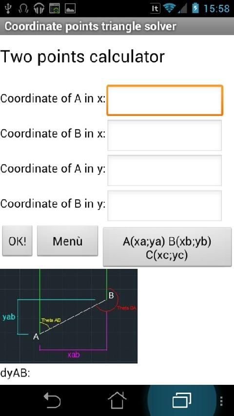 Coordinate triangle solve Lite - screenshot