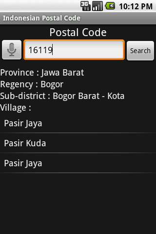 Indonesian Postal Code- screenshot