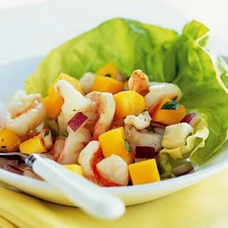 Shrimp, Mango, and Jícama Salad with Pineapple Vinaigrette.