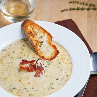 Roasted Cauliflower and Aged White Cheddar Soup.