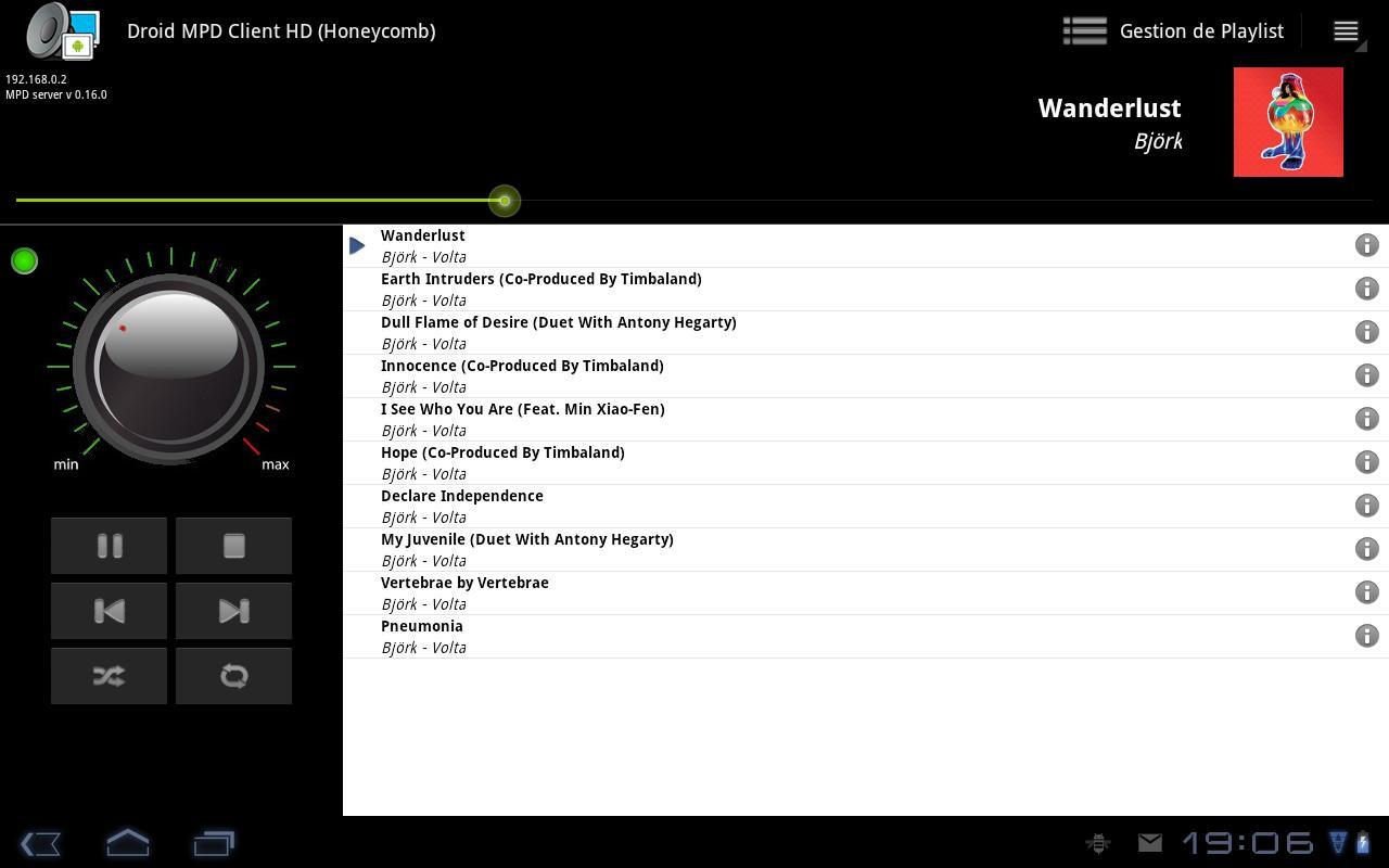 Droid MPD Client HD- screenshot
