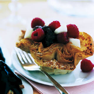 Phyllo Cups with Chocolate Mousse and Fresh Fruit.