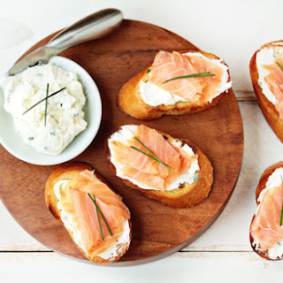 Smoked Salmon and Goat Cheese Bruschetta.