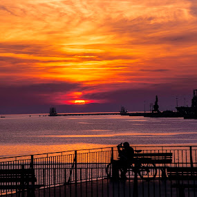 Taranto Sunset by Ciro Santopietro - Landscapes Sunsets & Sunrises ( orange, sunset, silhouette, landscape, sun )