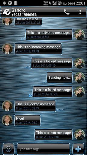 Theme Frame Blue for SMS