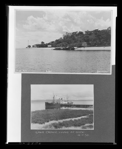 "Dock at Belterra Rubber Plantation and the ""Lake Ormoc"" Steamer Lying at Dock, Brazil, 1930"