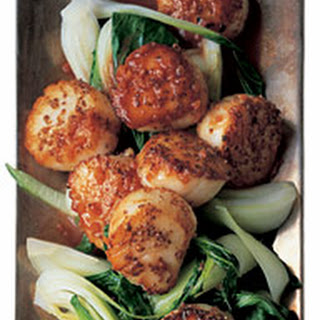 Seared Coriander Scallops with Bok Choy and Hoisin.