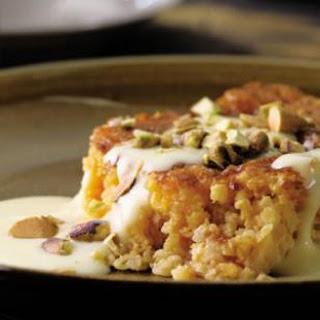 Apricot-Bulgur Pudding Cake with Custard Sauce