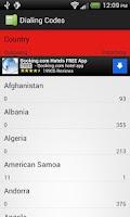 Screenshot of Dialing Codes