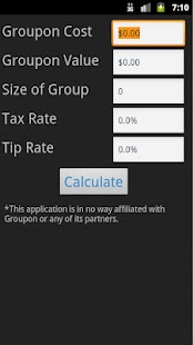 Groupon Bill Calculator
