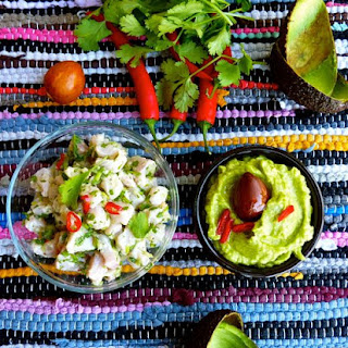 Green Ceviche with Guacamole.