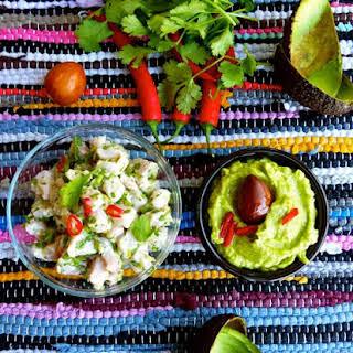 Green Ceviche with Guacamole.