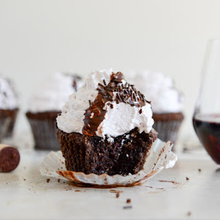 Dark Chocolate Fudge Merlot Cupcakes.