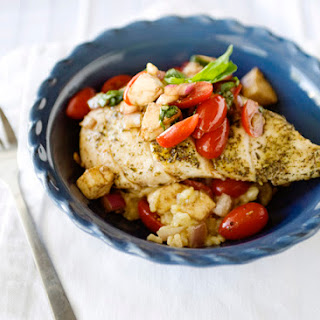 Oven Baked Risotto with Caprese Chicken.