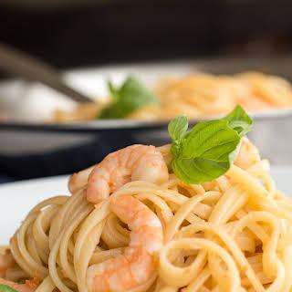Shrimp Pasta with White Wine Sauce.