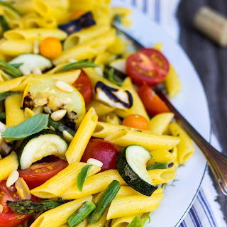 Grilled Vegetable Summer Pasta Salad with a Basil & Roasted Garlic Vinaigrette
