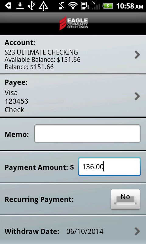 Eagle CU Mobile Banking Phone- screenshot
