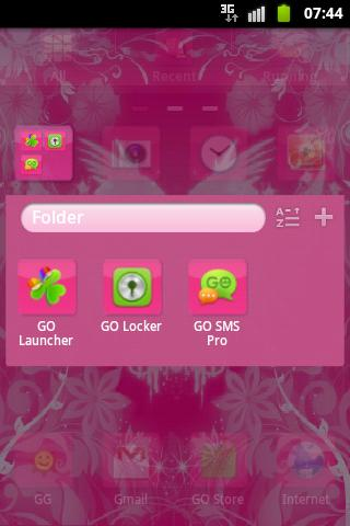 GO Launcher Theme Pink Hearts- screenshot