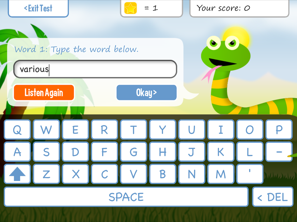 Squeebles Spelling Test - screenshot