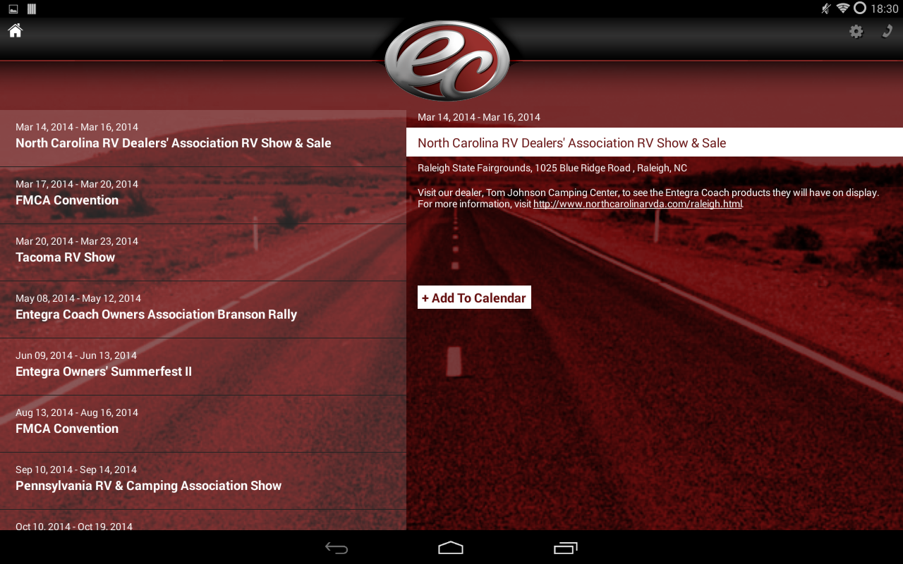Entegra Coach - screenshot