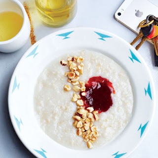 Brown Rice Porridge with Hazelnuts and Jam.