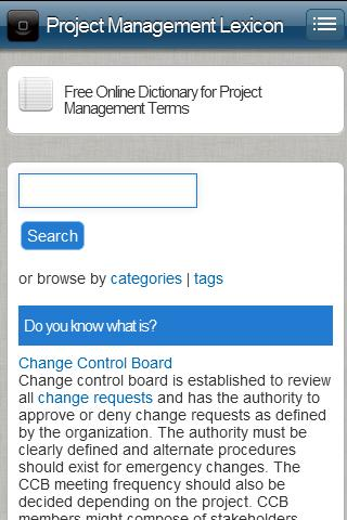 Project Management Lexicon - screenshot
