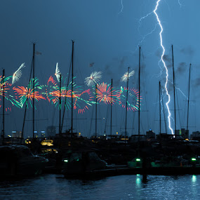 Fireworks and Lightning by Photoxor AU - Abstract Fire & Fireworks ( australia day, lightning, perth, boats, fireworks, new, year,  )