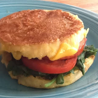 Inside Out Egg Sandwich (with Spinach, Tomato, Cheddar, and Canadian Bacon).
