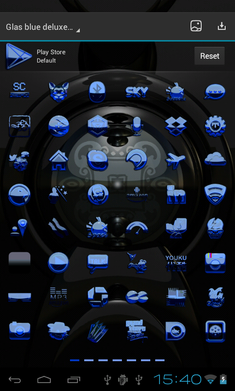 Next Launcher Theme glas blue- screenshot
