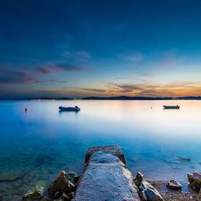 Into the blue  by Davor Strenja - Landscapes Waterscapes ( shore, blue, bibinje, sunset, croatia, sea, night, beach, zadar )