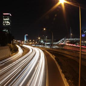 Untitled by Yana Villion - Transportation Roads ( cars, cars light, night, road, transportation, transportation by land, light, city, land, device )