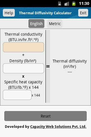 Thermal Diffusivity Calculator