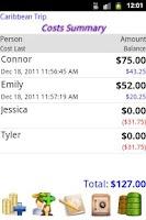 Screenshot of Share Costs