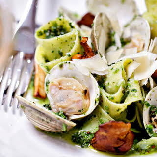 Linguine with Littleneck Clams, Chanterelles and Broccoli Rabe Pesto.