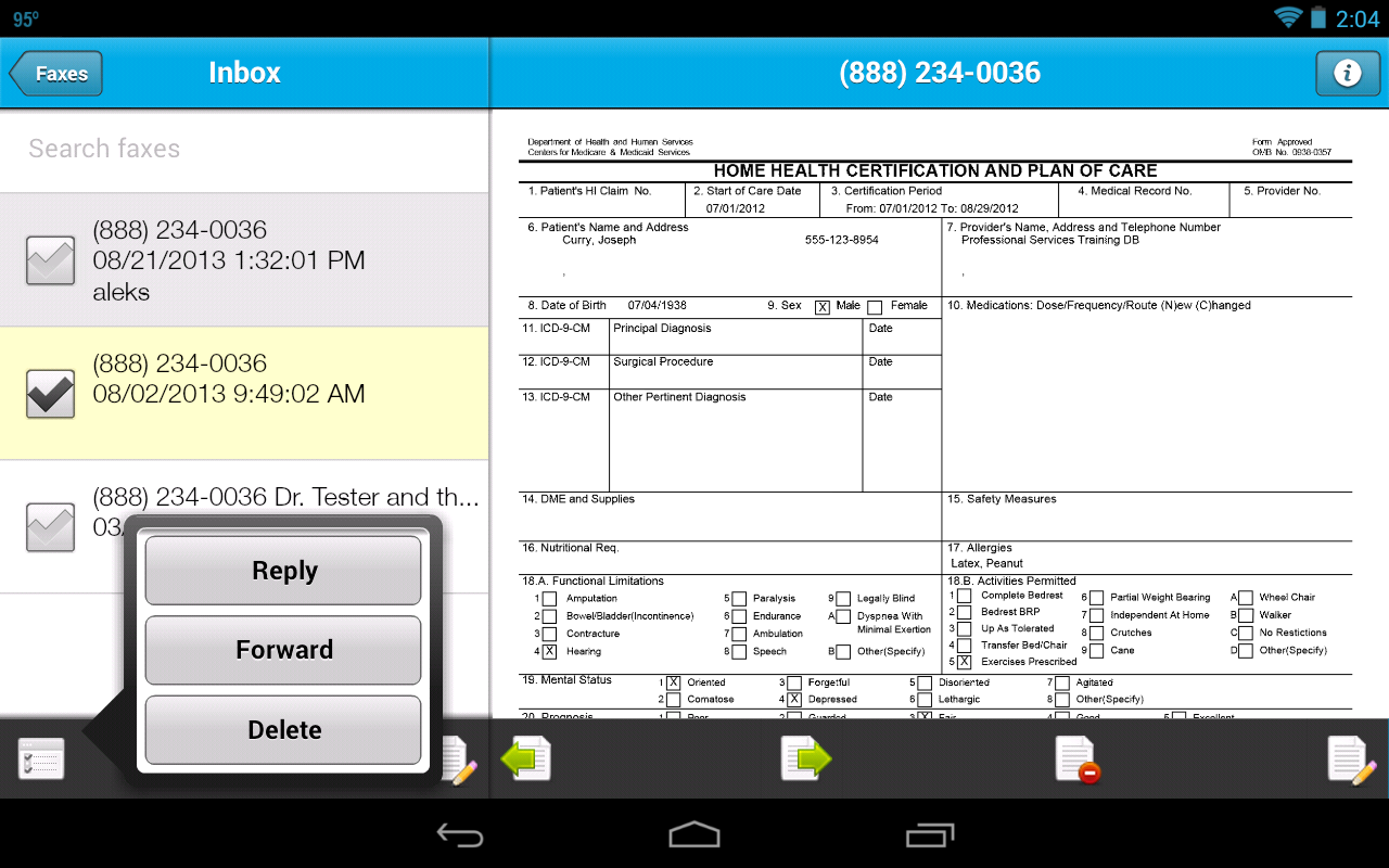 Sfax - Secure faxing on the go - screenshot