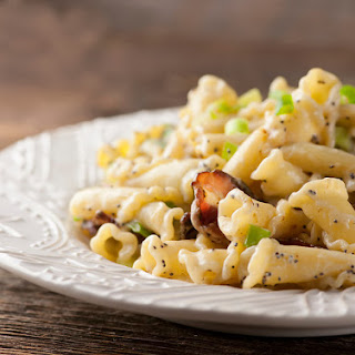 Pasta with Buttered Sour Cream and Bacon Sauce.