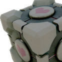 Portal Companion Cube Donate logo