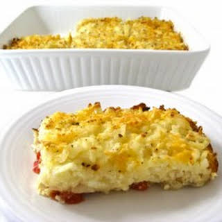 Skinny, Vegetarian Hash Browns and Eggs Breakfast Casserole.