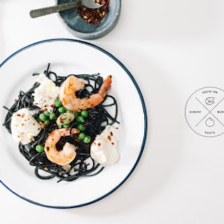 Squid Ink Pasta with Shrimp and Burrata