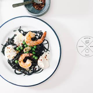 Squid Ink Pasta with Shrimp and Burrata.
