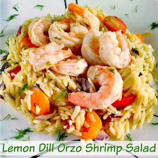 Lemon Dill Orzo Shrimp Salad.