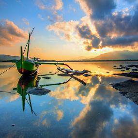Green Boat by Gus Mang Ming - Transportation Boats ( water, bali, blue, sunset, green, karangsewu, sunrise )